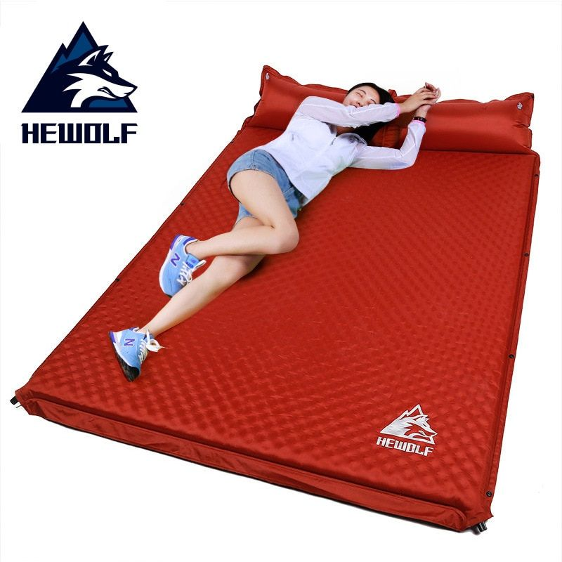 HEWOLF outdoor thick 5cm automatic inflatable cushion pad outdoor <font><b>tent</b></font> camping mats double inflatable bed mattress 2colors