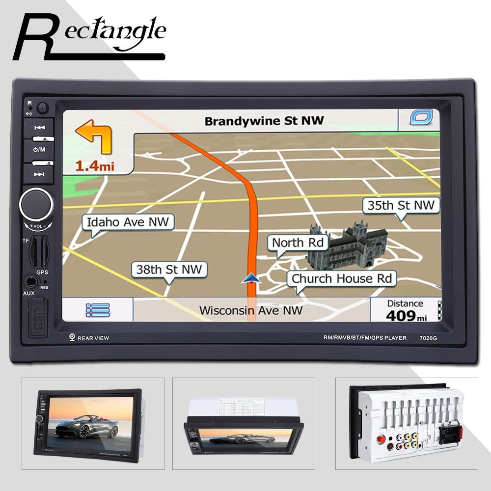 7 inch 2 Double Din Car MP5 Video Player Touch Screen 1080P GPS Navigation Bluetooth Radio Remote Control Car Styling USB