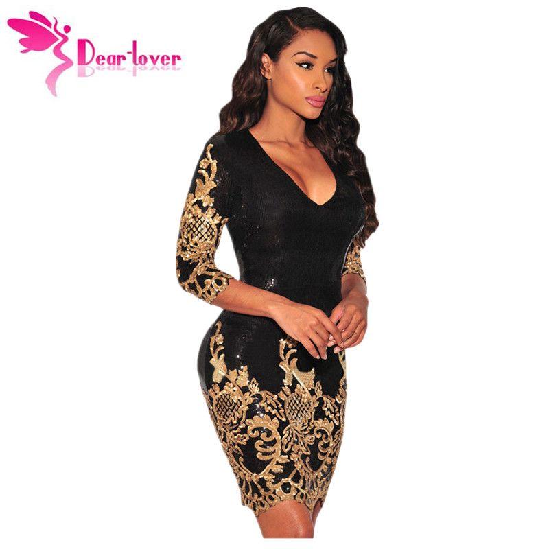 Dear Lover Sequined dresses Party Black Gold/Silver 3/4 Sleeves Bodycon Dress Autumns Night Club Sexy Vestido de Festa LC22794