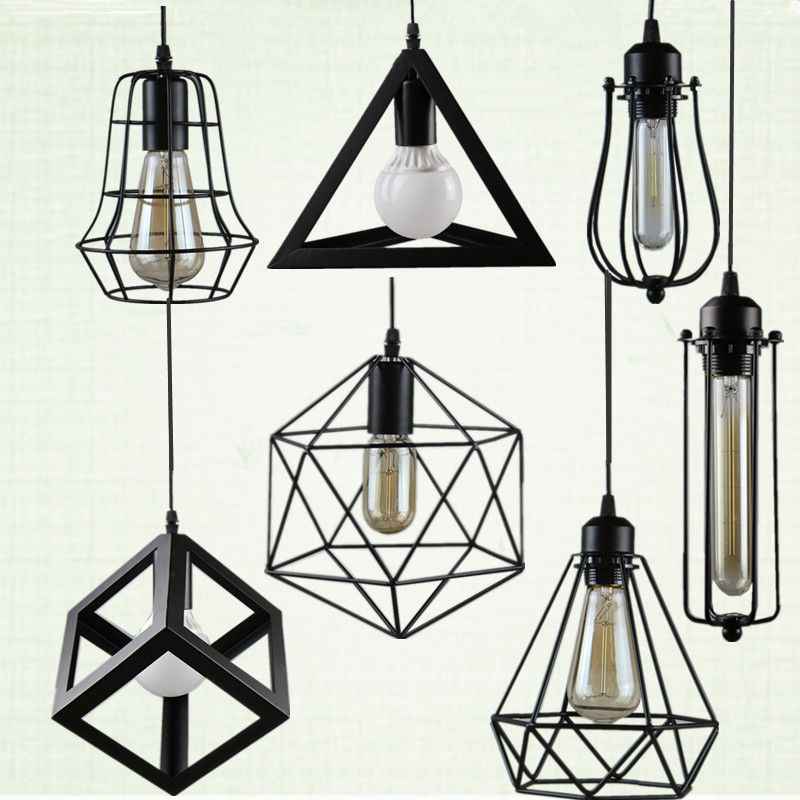 Retro indoor lighting Vintage <font><b>pendant</b></font> light LED lights 24 kinds iron cage lampshade warehouse style light fixture