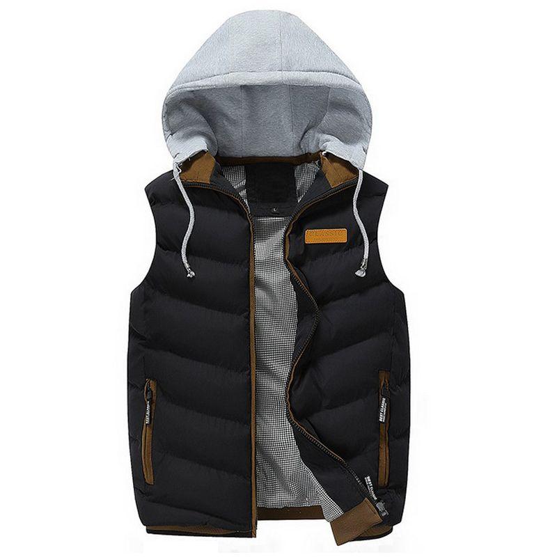 Vest Men Winter Fashion Sleeveless Hooded Vest chaleco hombre Male Cotton-Padded Waistcoat Mens Jacket and Coat Warm Vest gilet