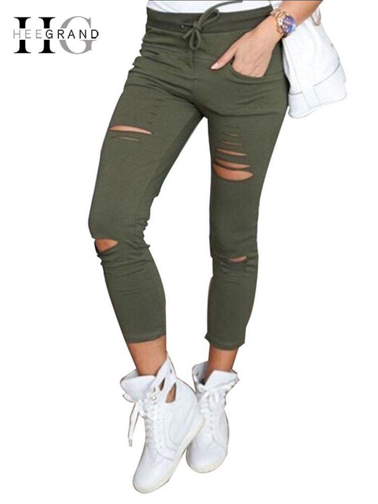 HEE GRAND femmes mode Skinny crayon pantalon dames Stretch Drastring décontracté trou cassé pantalon grande taille 4XL Capris WKP317