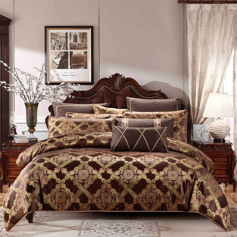 Gold coffee color cotton stain Bedding set king queen size 4/6/9pcs luxury royal bed duvet cover set bed linen pillow shams
