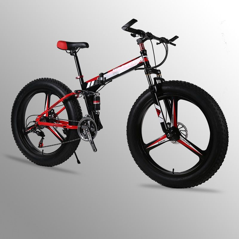 Mountain bike 24speed 26x4.0 Folding bike fat bike Double disc brakes Bicycles Snow Bike Front and rear damping bicycle road