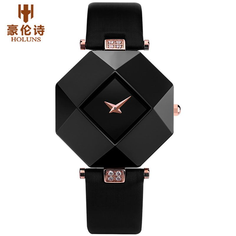 HOLUNS Brand Luxury Leather Watches Women Creative Ceramic Diamond Dial Fashion Casual Genuine Elegant Ladies Quartz Wrist Watch