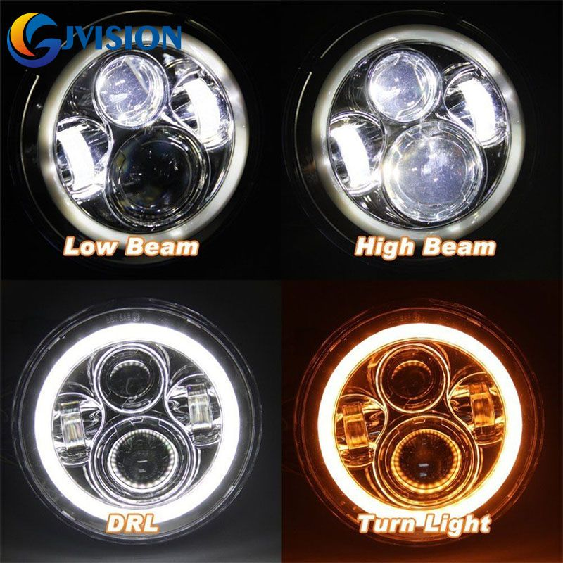 For Jeep JK Land Rover Defender Hummer 7 inch led headlight Yellow Halo angel eye DRL Projector Lens for Lada 4x4 Urban Niva