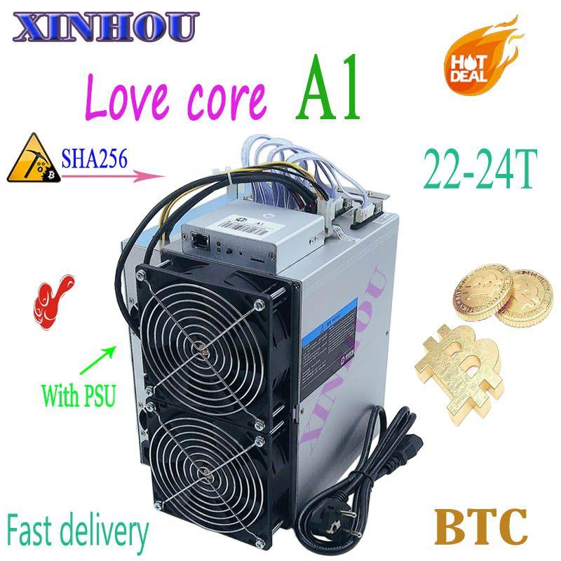 Neueste BTC BCH miner Liebe Core A1 Miner Aixin A1 22-24T SHA256 ASIC Mit NETZTEIL Wirtschafts Als m3 T3 T2T E9i Antminer S9 S9k T17 S17
