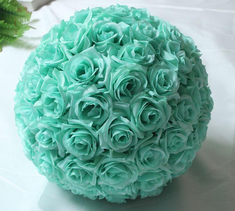 8 inch (20 cm) décorations de mariage vert menthe artificielle Rose fleur de soie centres de table menthe décoratif suspendus fleur boule