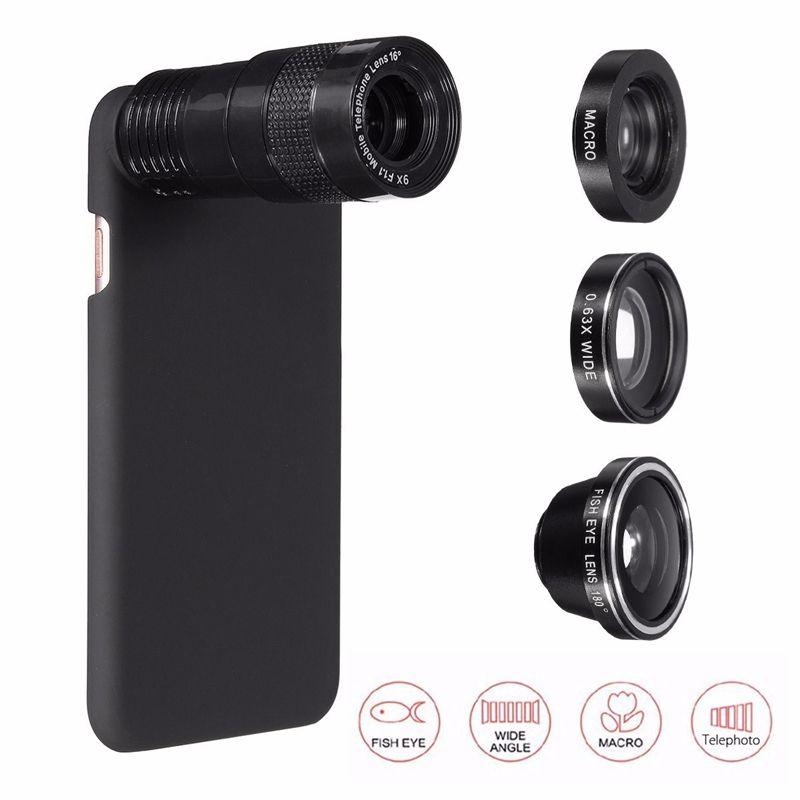 5 In 1 9X Zoom Telephoto 0.63X Wide Angle Macro Fisheye 180 Degree Phone Camera Lens With Cover Case For iPhone 7 7 Plus