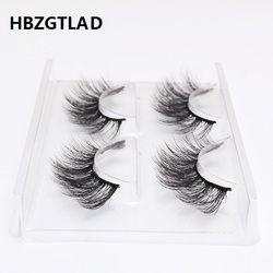 HBZGTLAD 2 pairs natural false eyelashes fake lashes long makeup 3d mink lashes eyelash extension mink eyelashes for beauty 759