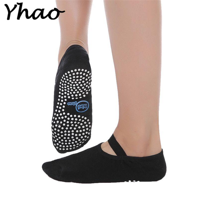 Black Cotton Yoga Socks Women Anti-slip Backless Bandage breathe freely pilates Ballet Socks Yhao brand Free shipping