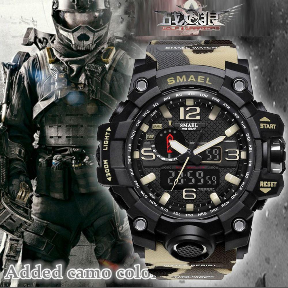 Top Luxury Brand SMAEL Men Sports Watches Men's Camouflage Khaki Quartz Clock Man Army Military Wrist Watch Relogio Masculino