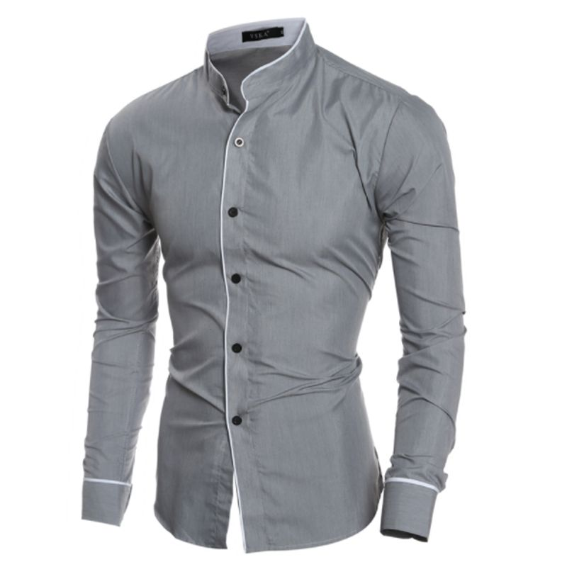 Men'S Shirt 2017 New Fashion Solid color Men'S Slim Business Casual Brand Clothing Long Sleeve Chemise Homme XXL
