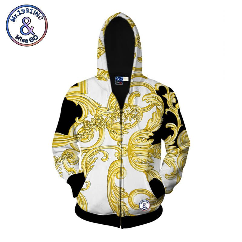 Mr.1991INC Zippered Hoodies 2018 Spring New Style Sweatshirt Golden Yellow Restore Ancient Ways 3D Printing Hooded Hoodies
