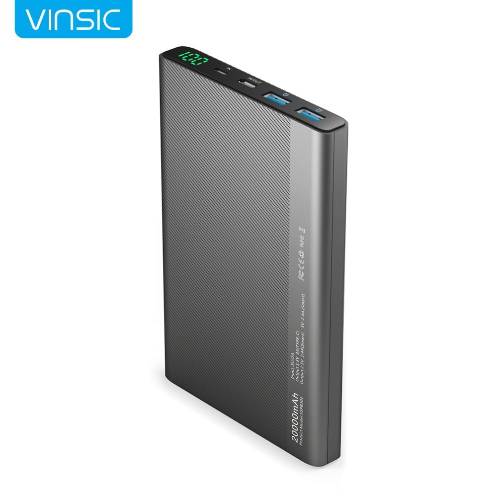 Vinsic 20000mAh Power Bank 2.4A Dual USB Type-C LED Dispaly External Battery Charger for iPhone X 8 8 Plus Xiaomi Huawei