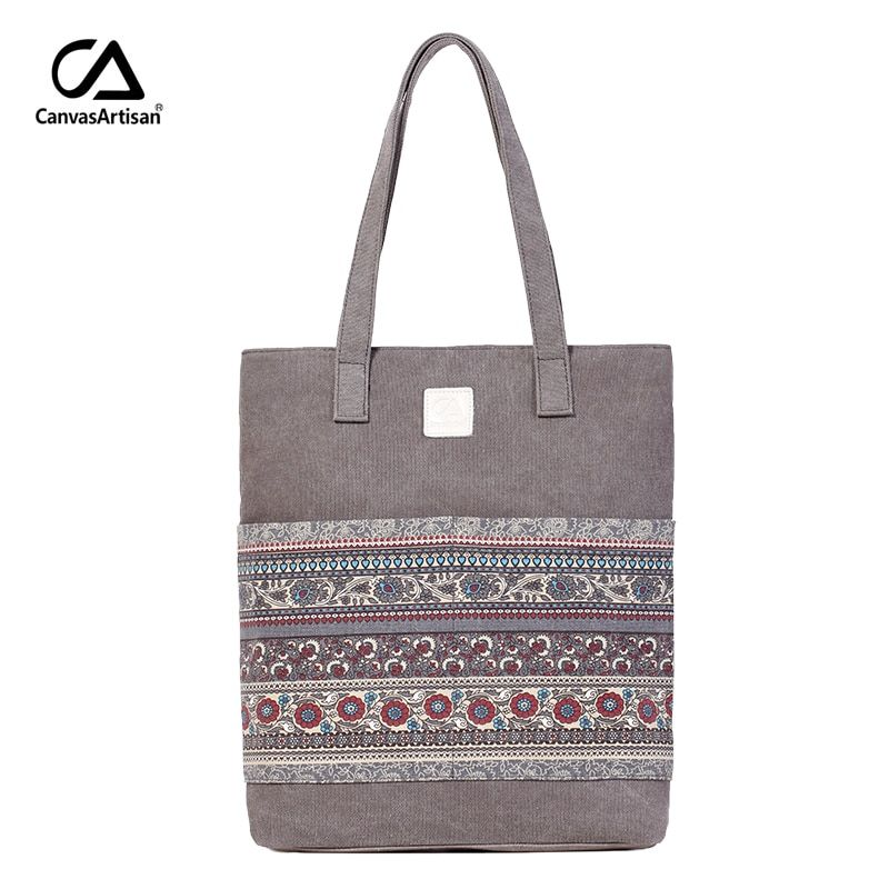 Canvasartisan Brand new canvas women handbags floral vintage female shopping shoulder bag zipper closure tote hand bags