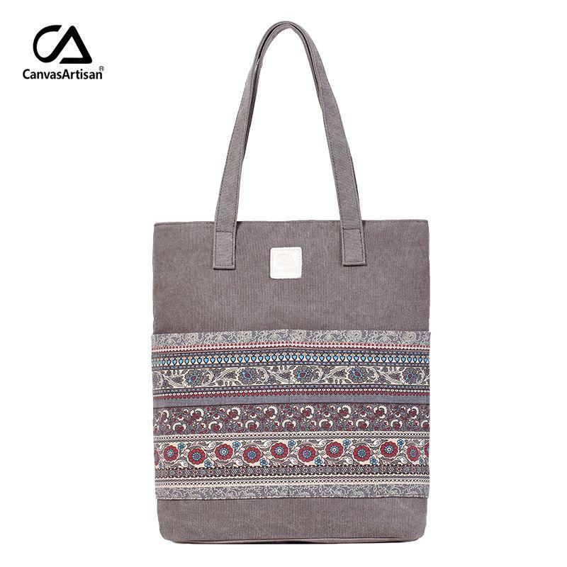 Canvasartisan marque nouvelle toile femmes sacs à main floral vintage femme shopping sac à bandoulière fermeture à glissière fourre-tout sacs à main