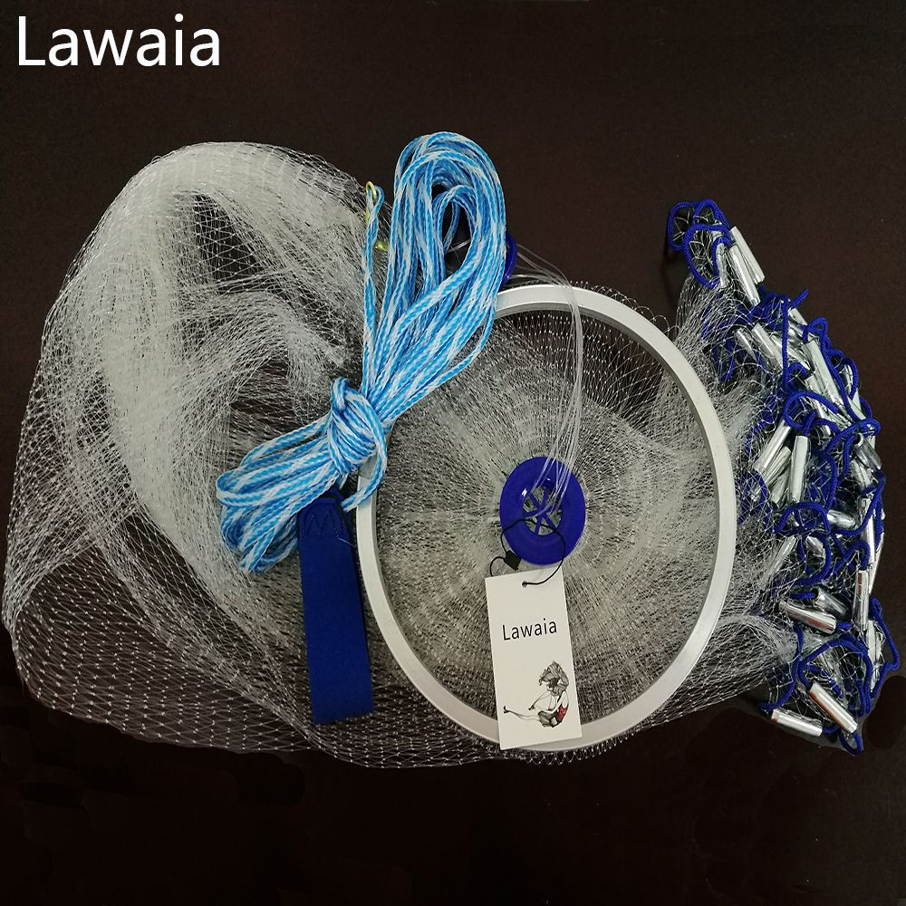 Lawaia Hand Cast Net 2,4 mt-5 mt Angeln-net Fischernetz American Sign Cast Netzwerk Klapp Angeln netzwerk Cast Net