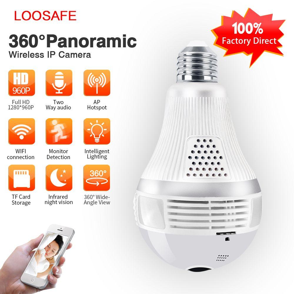 Loosafe 960 P 360 IP caméra panoramique Lampada Caméra Wifi IP Caméra Fisheye Panoramique de Surveillance de Sécurité À Domicile caméra cctv