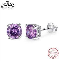 Rinntin 100% 925 маленькие серьги серебро 6 мм камень AAA циркон Для женщин серьги новые женские модные праздничные ювелирные изделия TSE84-P