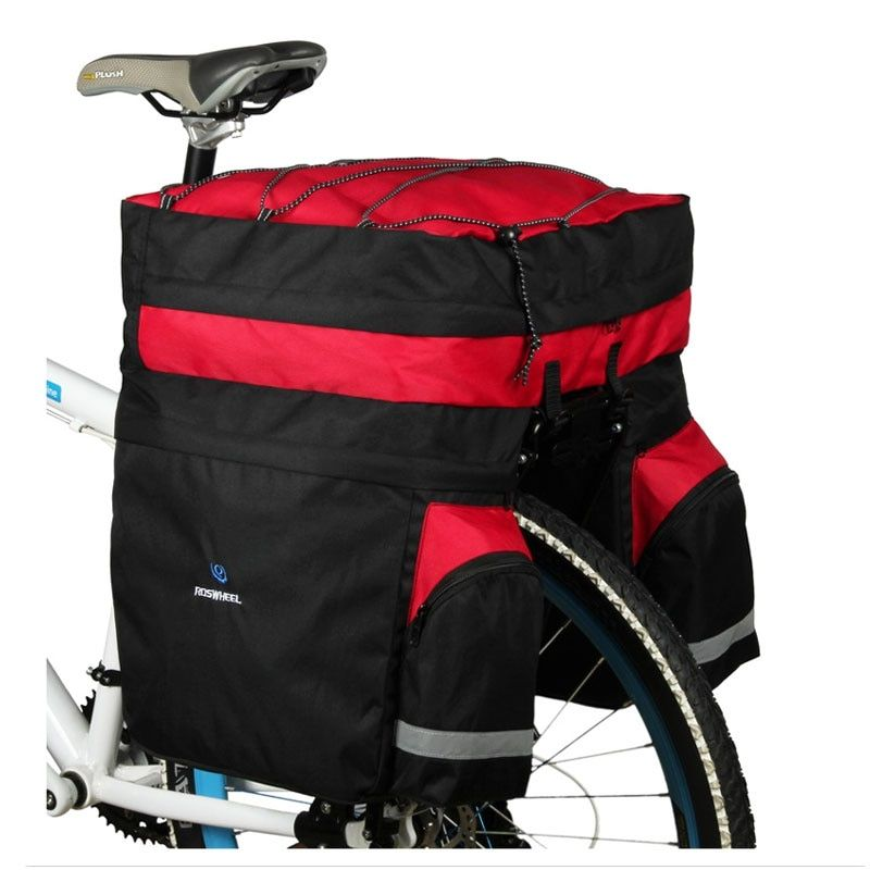 ROSWHEEL 60L MTB Bicycle <font><b>Carrier</b></font> Bag Rear Rack Bike Trunk Bag Luggage Pannier Back Seat Double Side Cycling Bycicle Bag 14590