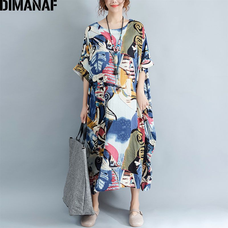 DIMANAF Plus Size Dress Women Summer Pattern Patchwork Print Vintage Linen Dress Female Casual Fashion Oversize Elegant Dresses