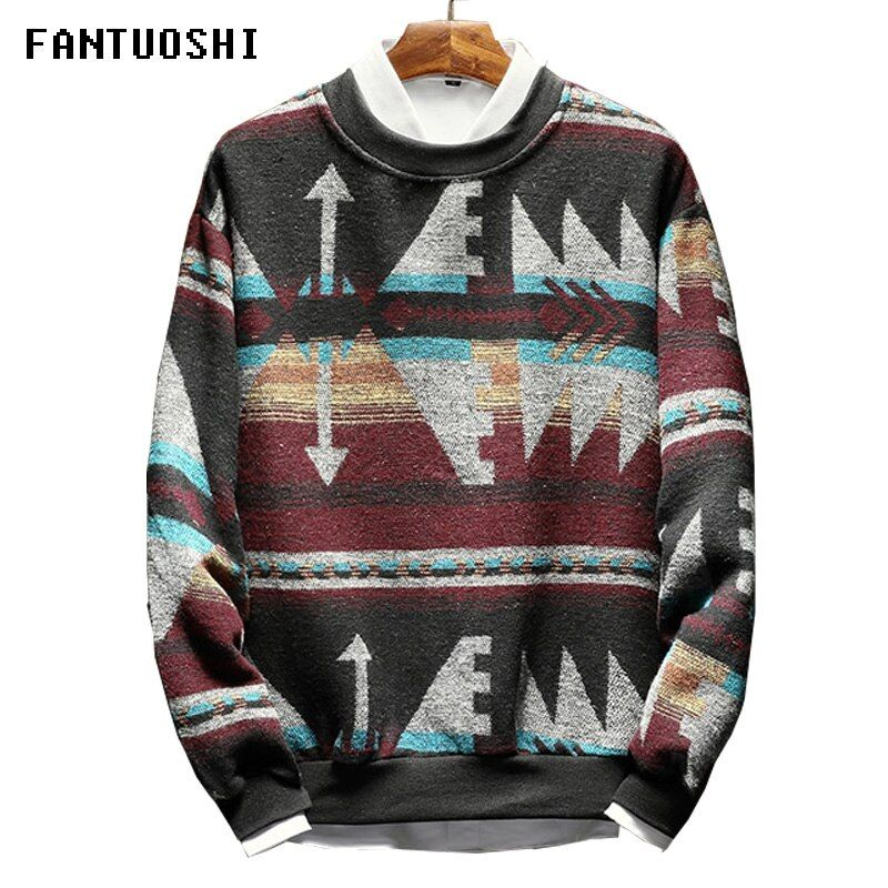 2018 New Cashmere Wool Sweater Men Slim Fit Pullovers Men Pattern O-Neck Long-sleeved casual Large size men's clothing