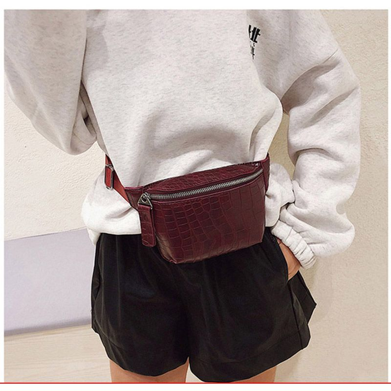 Waist Bag Women PU Leather Fanny Pack Fashion Belt Bag Women Phone Pouch Casual Black Chest Bags Girls Shoulder Backpack B135