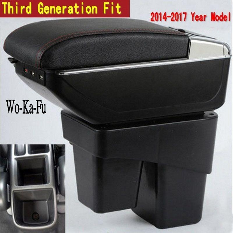 Pour Honda Fit Jazz 3rd génération boîte accoudoir central Magasin contenu boîte De Rangement avec porte-gobelet cendrier USB interface 2014 -2017