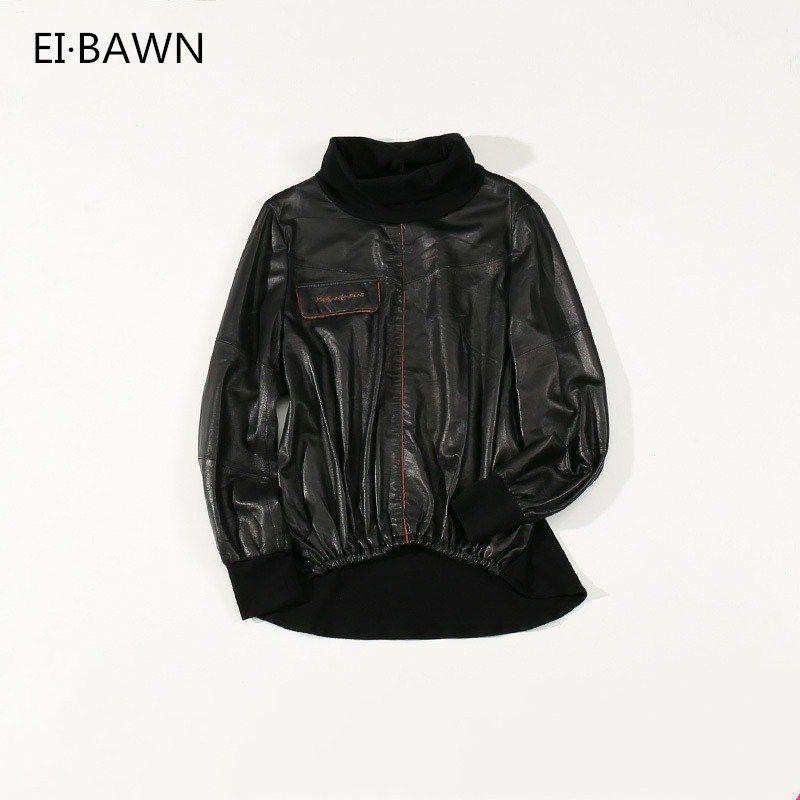 Frauen Aus Echtem Leder Jacke Schwarz Elastische Taille High Neck Slim Fit Koreanische Art Street Echt Schaffell Weibliche Casual Jacken