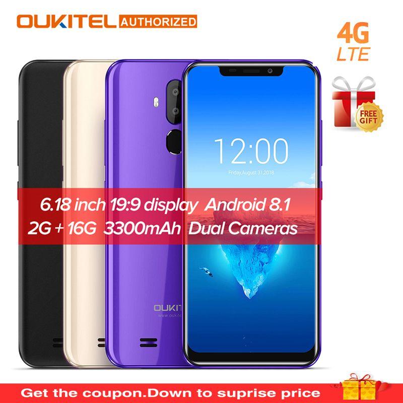 Original OUKITEL C12 Pro 6.18 19:9 Android 8.1 Mobile Phone Quad Core 2G RAM 16G ROM Fingerprint Face ID 4G 3300mAh Smartphone