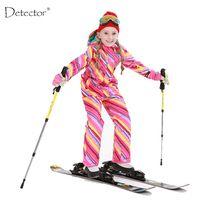 Detector/лыжный костюм для девочек, непромокаемая детская Лыжная куртка, лыжные штаны, теплая зимняя одежда высокого качества для мальчиков-30 г...