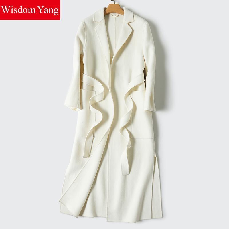 Wisdom Yang Women's Sheep Wool Coat White Grey Navy Belt Warm Winter Trench Long Sleeve Woolen Overcoat Jackets Manteau Femme