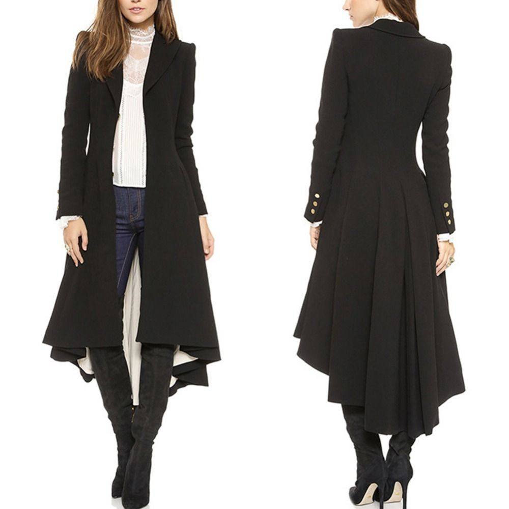 2017 fashion women long Dovetail black trench elegant slim plus size peplum maxi poncho coat femme ruched button trench outwear