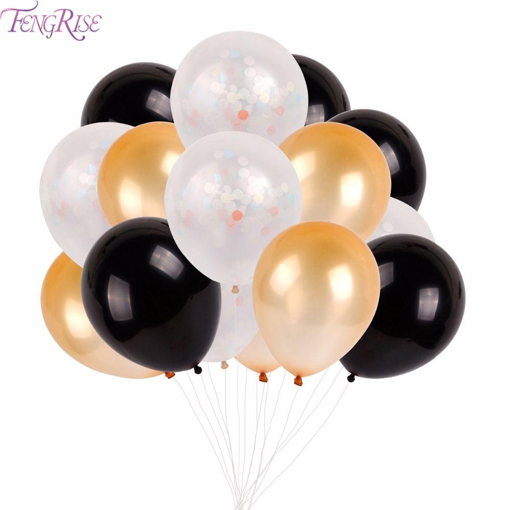 FENGRISE 18 pcs un Pack Clear Confettis Ballon avec Or Noir Ballons Rouge Tapis De Mariage Parti Événement Décoration Fournitures Romance