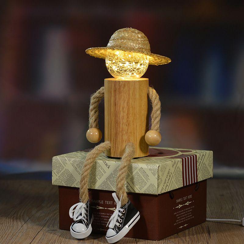 Творческий украшения дома деревянные люди с Рождество шляпа ночник USB источника питания iy801104