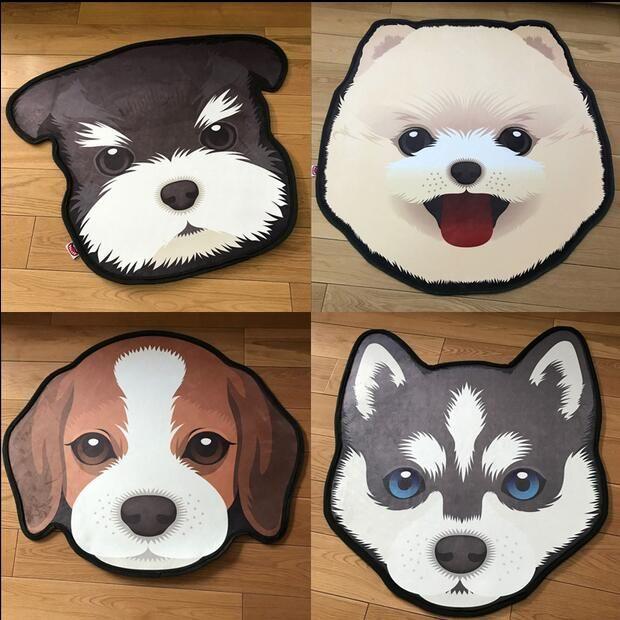 New 3D Thick Cartoon dog head shape Anti-Slip Carpets Pet Dog Print Mats Bathroom Floor Kitchen <font><b>Rugs</b></font> 60X60 80X80 cm