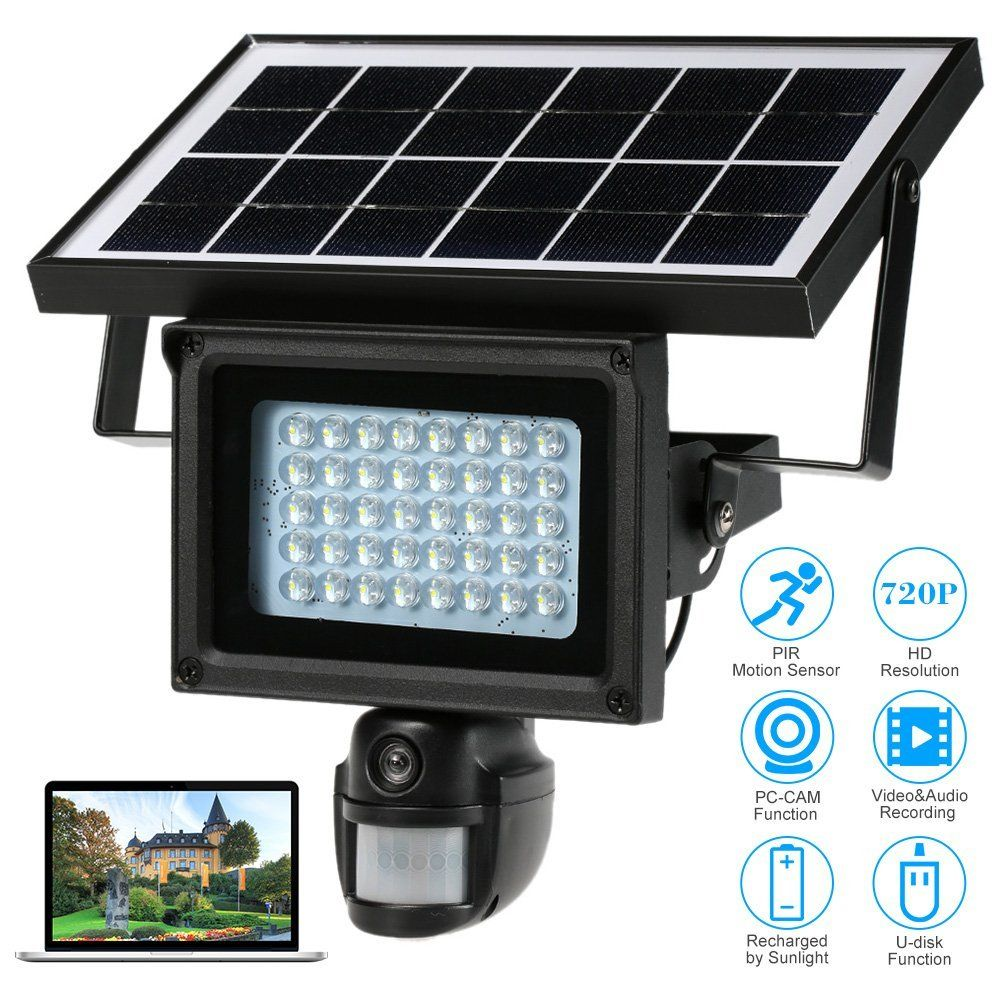 SmartYIBA 720P HD Solar IP Camera CCTV Security Camera DVR Recorder PIR Motion Detection With Solar Floodlight Street camera