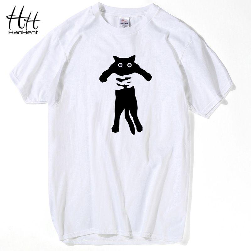HanHent 100% coton Harajuku chats chemise hommes T-shirt Style japonais hauts Anime T-shirt lâche manches courtes col rond blanc T-shirt