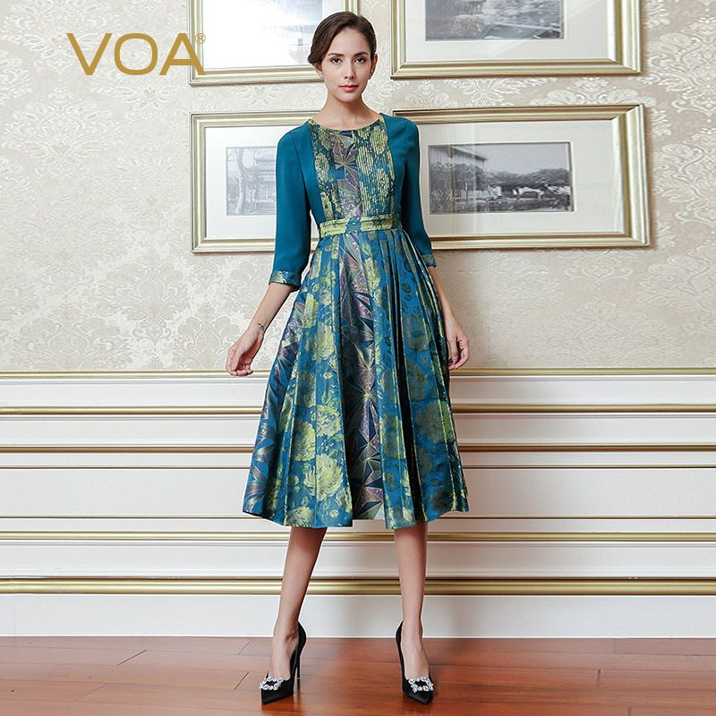 VOA Blue Vintage Chinese Style Printed Silk Dress Plus Size High Waist Tunic Slim Pleated Dresses Luxury Women Clothes AJX01801