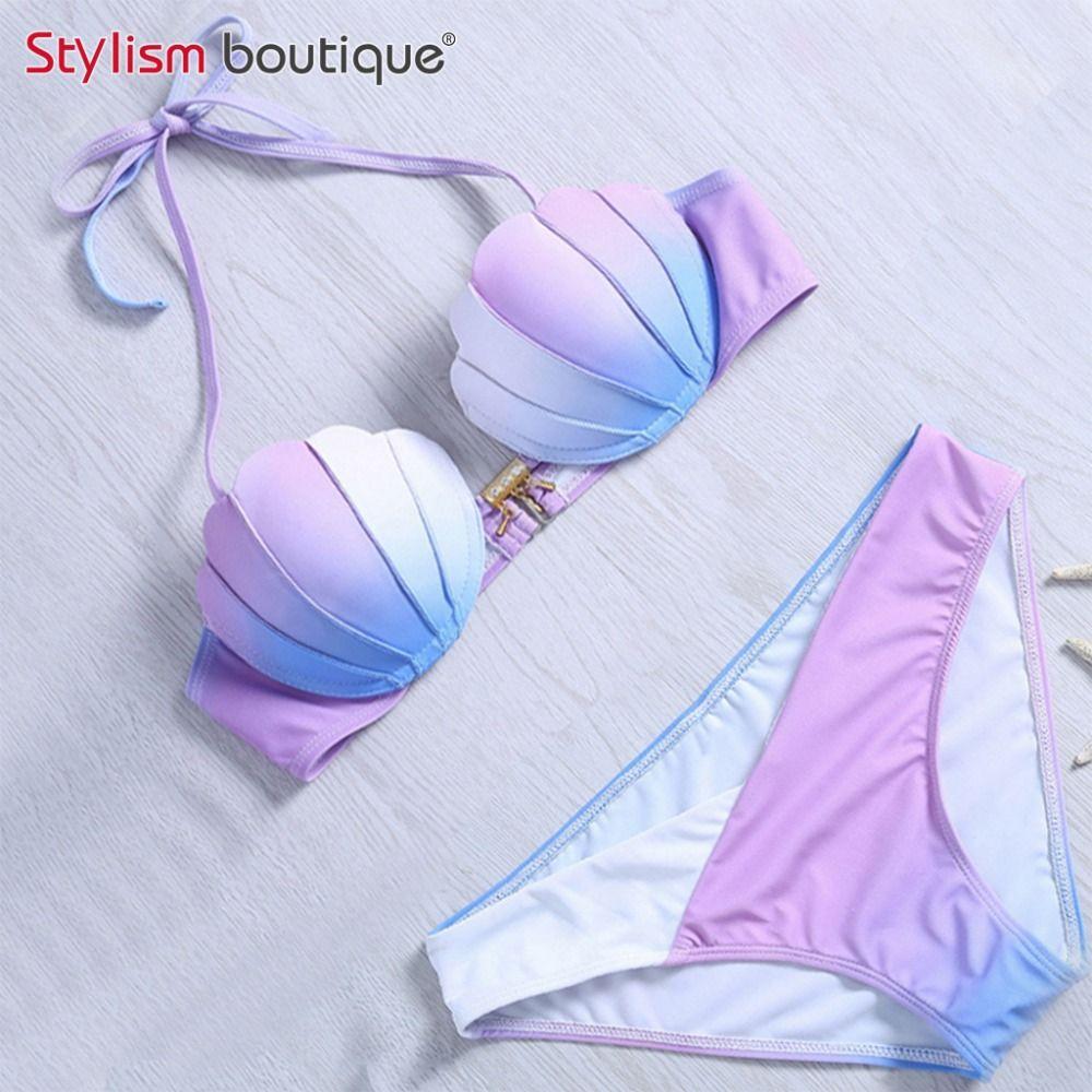 Sirène Shell Soutien-Gorge Push Up Deux-Pièce Costume Maillots De Bain Gradient Couleur Beachwear Sexy Bikinis Ensemble Maillot de Bain Biquini Maillot De bain