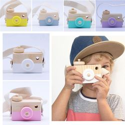 nice wooden toys baby children photography prop hanging camera decoration children educational birthday kids Toy mini Cameras
