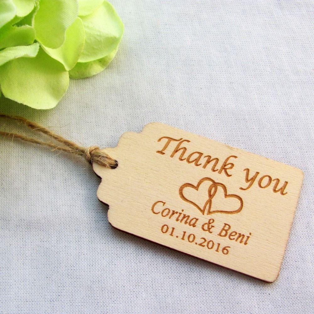 65/200 pcs Personnalisé Gravé Merci De Mariage Tags En Bois Tags Faveur De Mariage Tags Rustique De Mariage Nuptiale Douche Faveur Tags