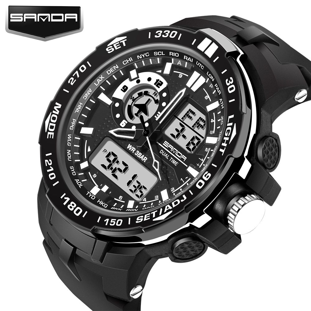 Fashion Sport Super <font><b>Cool</b></font> Men's Quartz Digital Watch Men Sports Watches SANDA Luxury Brand LED Military Waterproof Wristwatches