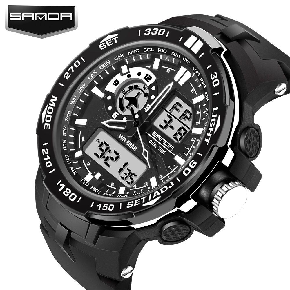 Mode Sport Super Cool hommes montre à Quartz numérique hommes montres de Sport SANDA marque de luxe LED montres militaires imperméables