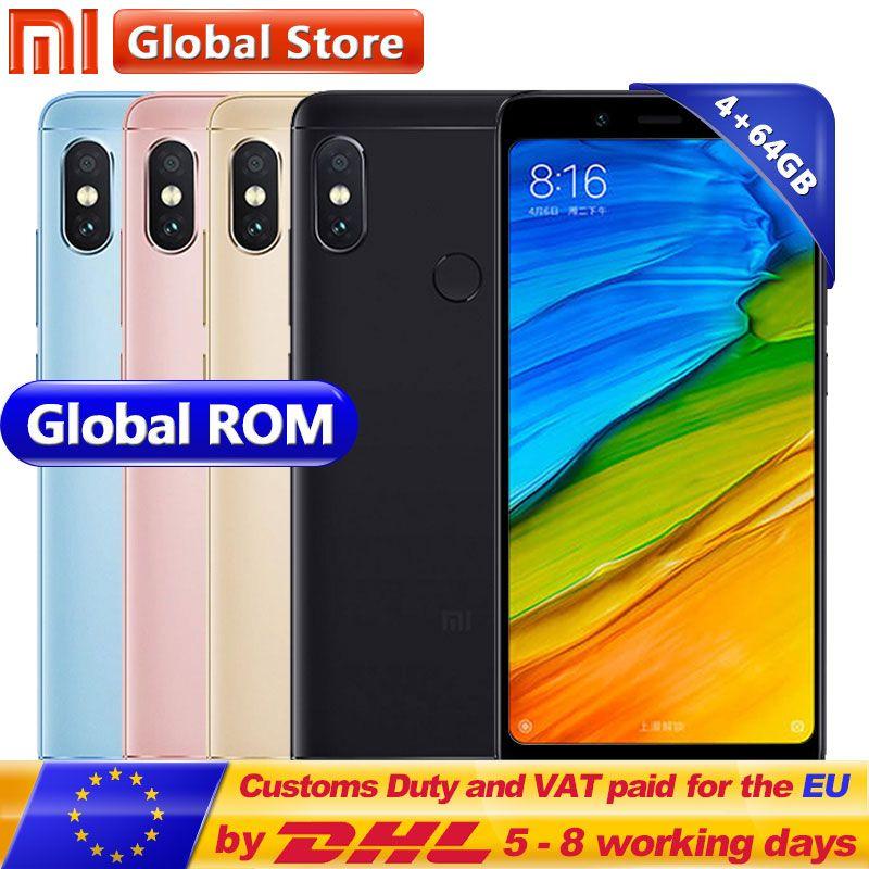 D'origine Téléphone Mobile Xiaomi Redmi Note 5 4 gb RAM 64 gb ROM Snapdragon S636 Octa Core MIUI9 5.99 2160*1080 12.0 + 5.0 mp 4000 mah