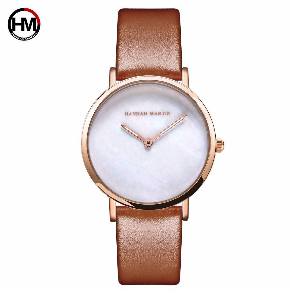 HM Shell Muster Zifferblatt Wasserdichte Frauen Uhr Leder Einfache Stil Damen handgelenk Uhren Uhr für Frauen Relogio Feminino
