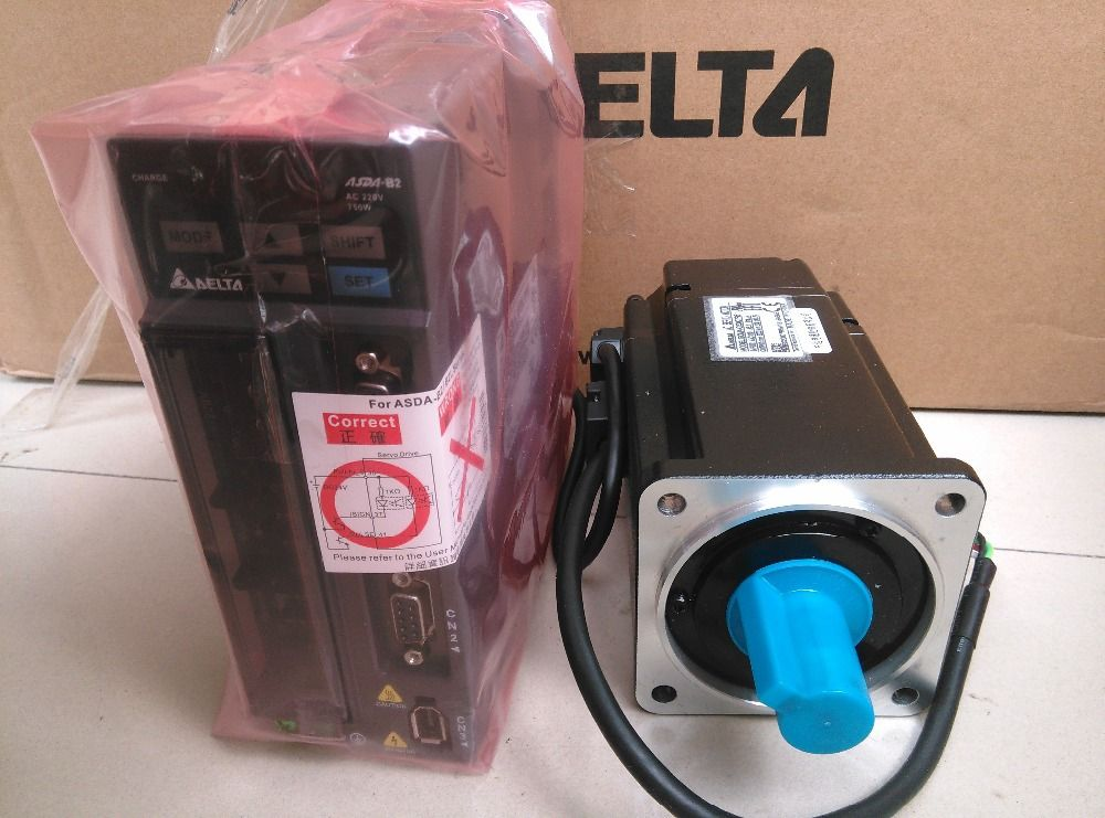80mm 220 v 750 watt 2.39NM 3000 rpm 17bit ASD-B2-0721-B + ECMA-C20807RS Delta AC servo motor & drive kit & 3 mt kabel