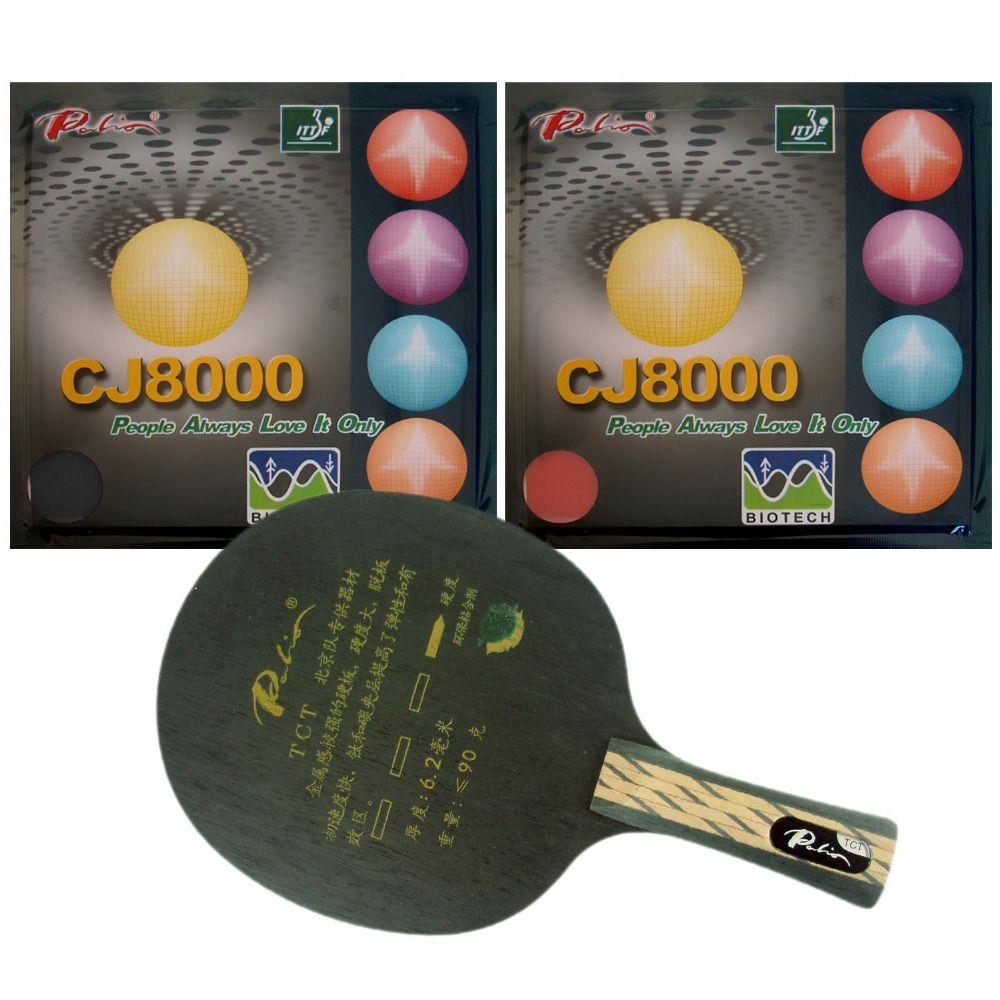 Palio TCT Tischtennis-blatt Mit 2x CJ8000 BIOTECH Gummi Mit Schwamm H40-42 für eine Tischtennisschläger FL