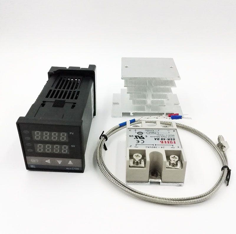 REX-C100 Digital RKC PID Thermostat Temperature Controller digital REX-C100 + 40A SSR Relay + K Thermocouple Probe+heat sink